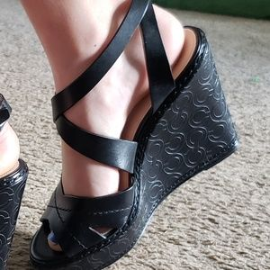 Coach logo Print leather wedges in black